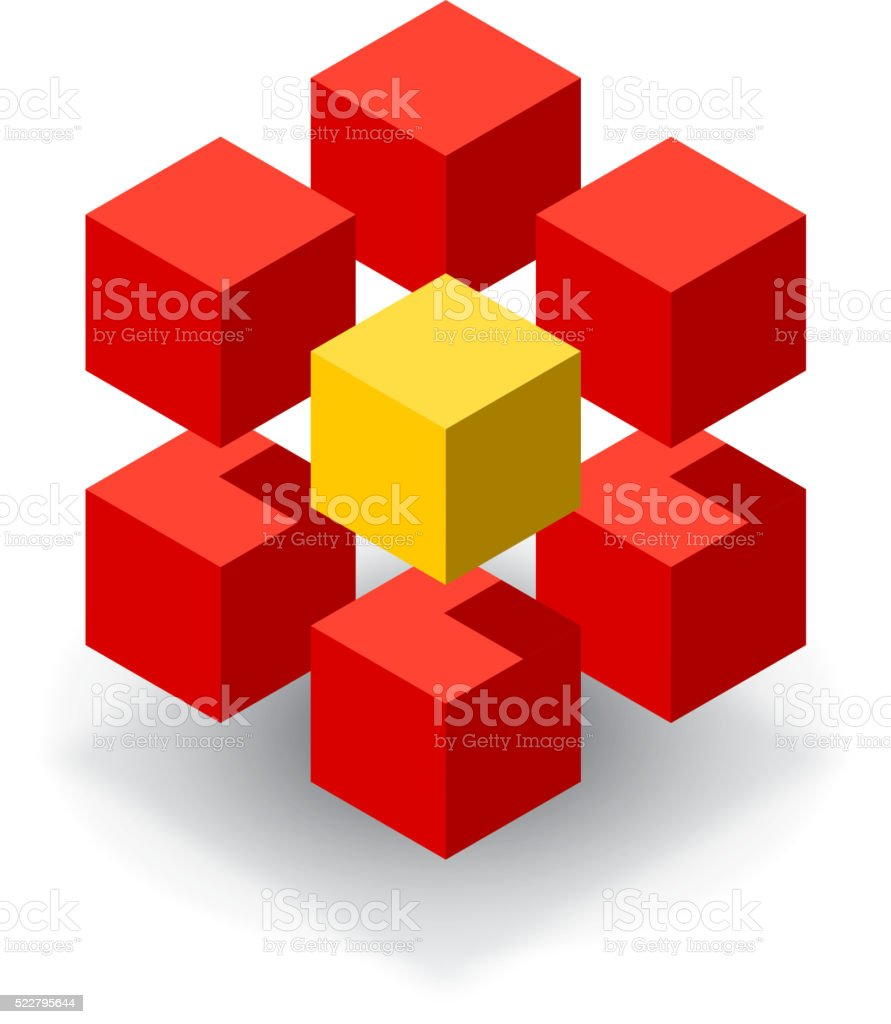 Red cube with yellow segments vector art illustration