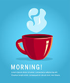 Red cup of coffee or black tea, vector