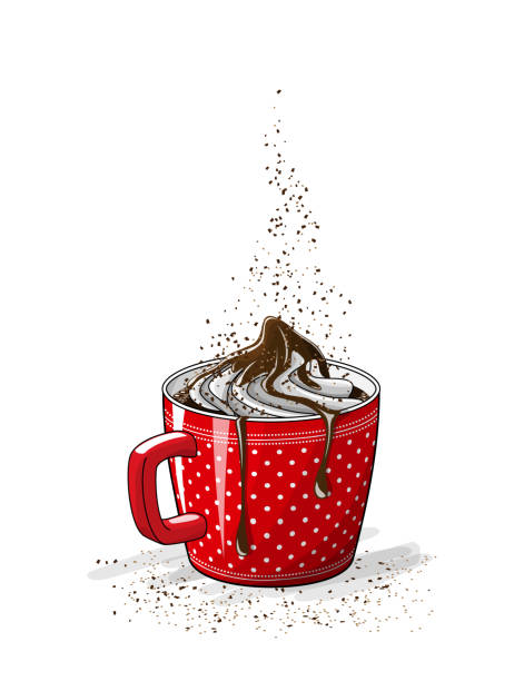 rote tasse kaffee mit sahne, abbildung - weihnachtsschokolade stock-grafiken, -clipart, -cartoons und -symbole