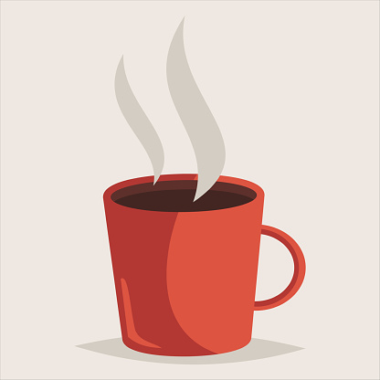 Red cup of hot coffee. Vector cartoon icon isolated on a background.