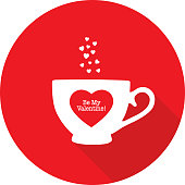 Vector illustration of a white coffee cup with a red Be My Valentine Heart on it.