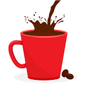 Red cup with coffee, splash beverage. Coffee beans. Vector