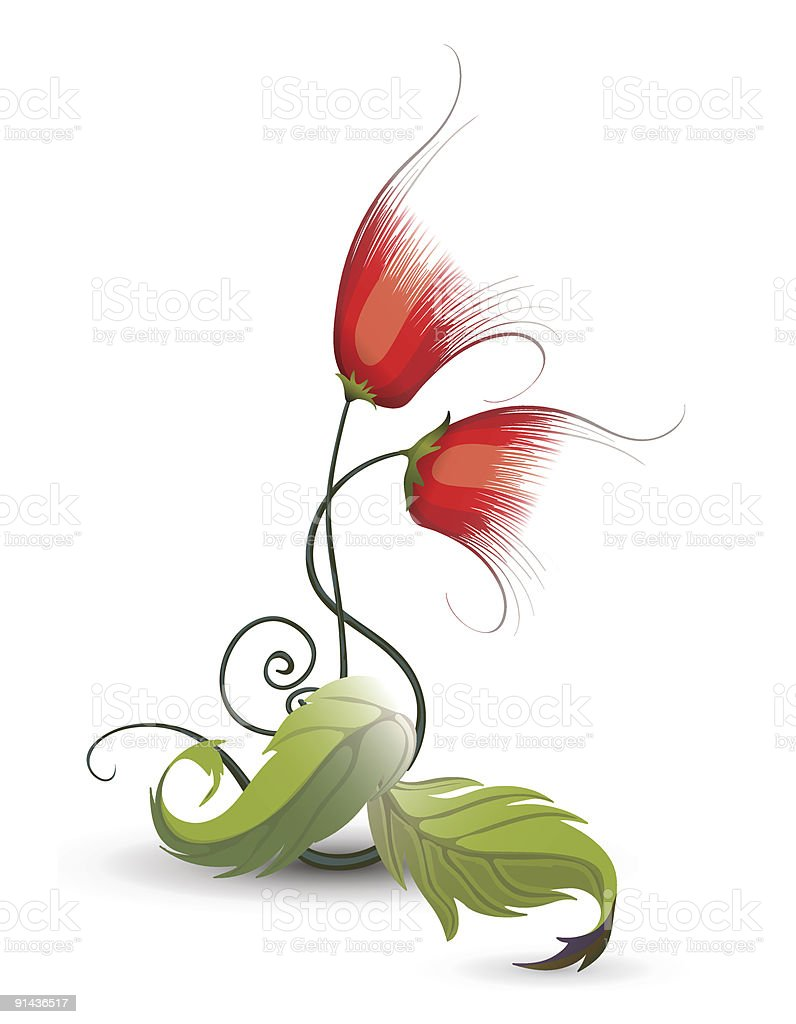 Red curled flower royalty-free stock vector art