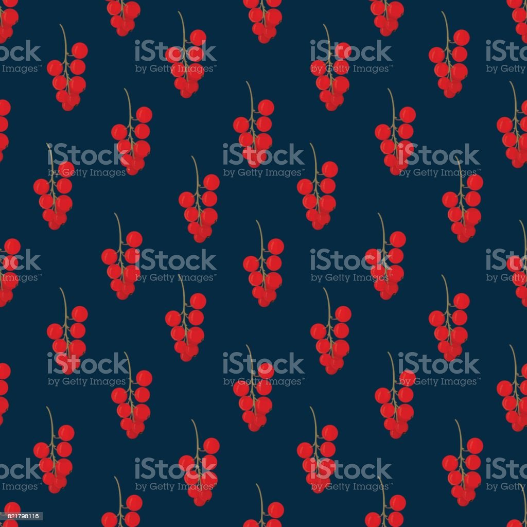 Red currant on a dark background vector art illustration