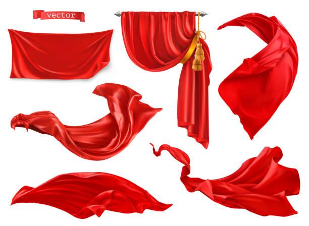 stockillustraties, clipart, cartoons en iconen met rode gordijn. 3d-realistische vector set - zijde
