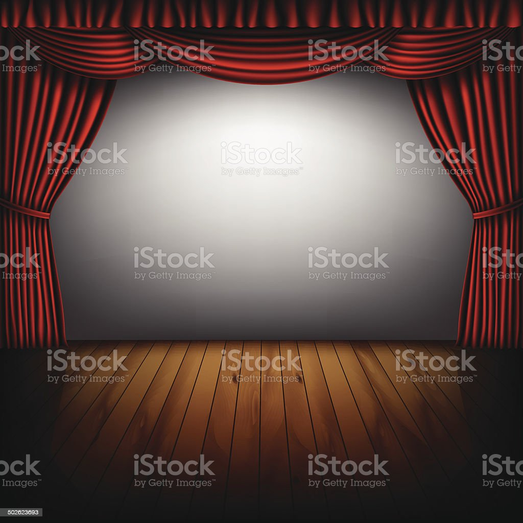 red curtain and cinema screen royalty-free stock vector art