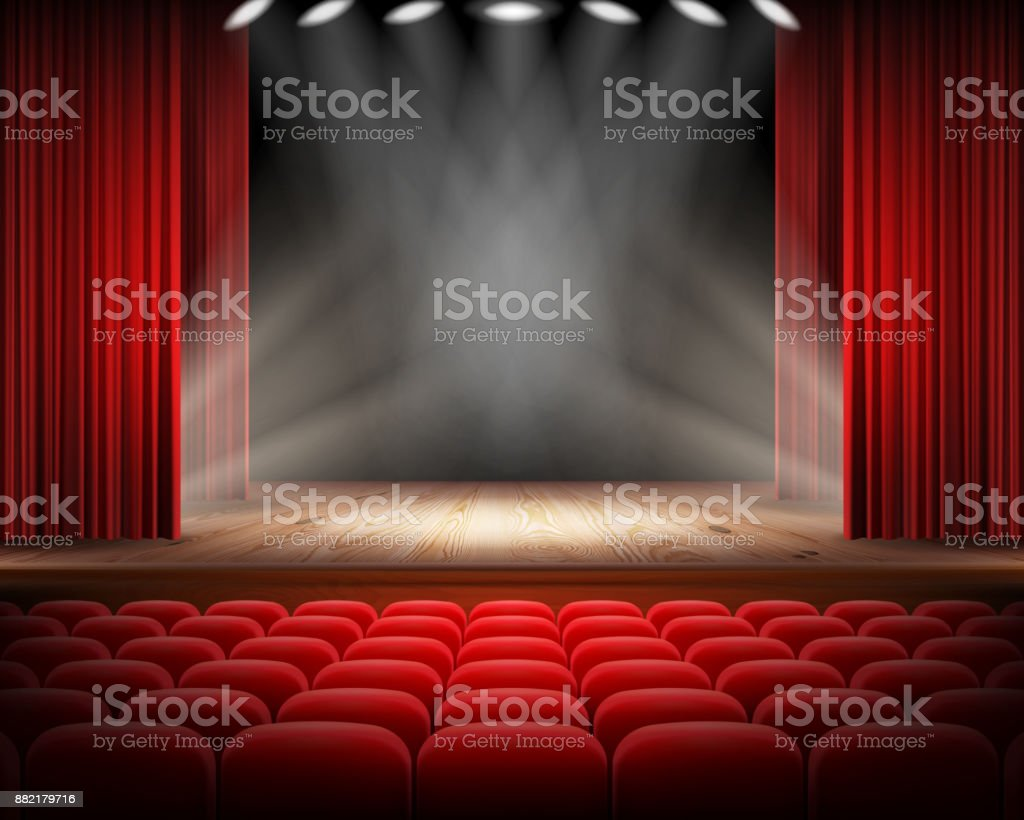Red curtain and empty theatrical scene vector art illustration