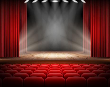 빨간 커튼 및 빈 연극 장면 0명에 대한 스톡 벡터 아트 및 기타 이미지