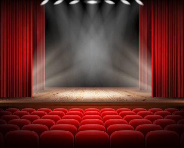 Red curtain and empty theatrical scene Open red curtain and empty illuminated theatrical scene realistic vector illustration. Grand opening concept, performance or event premiere poster, announcement banner template with theater stage no people stock illustrations