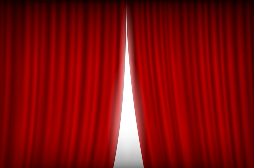 red curtain open