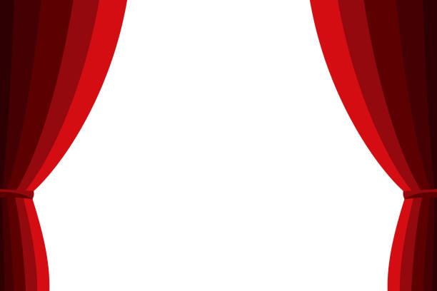 赤のカーテンの白い背景にオープンしました。 - ステージ点のイラスト素材/クリップアート素材/マンガ素材/アイコン素材