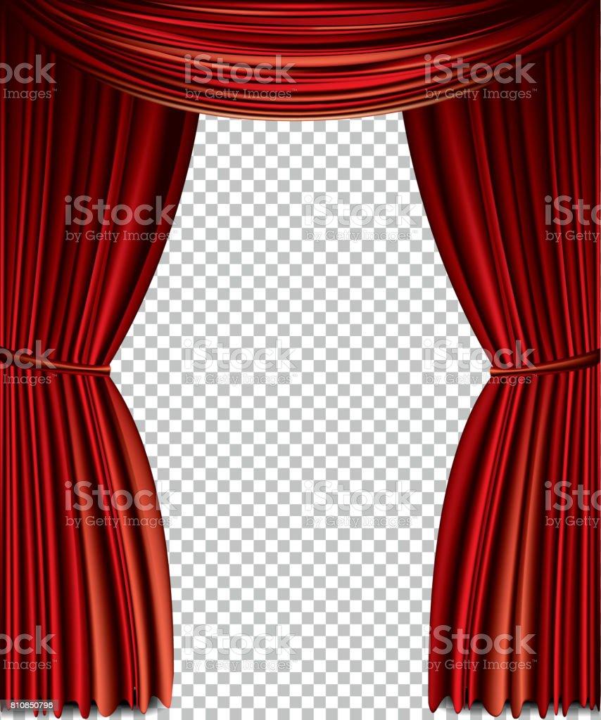 Red curtain vector art illustration