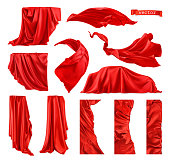 Red curtain vectorized image. Drapery fabric 3d realistic vector set