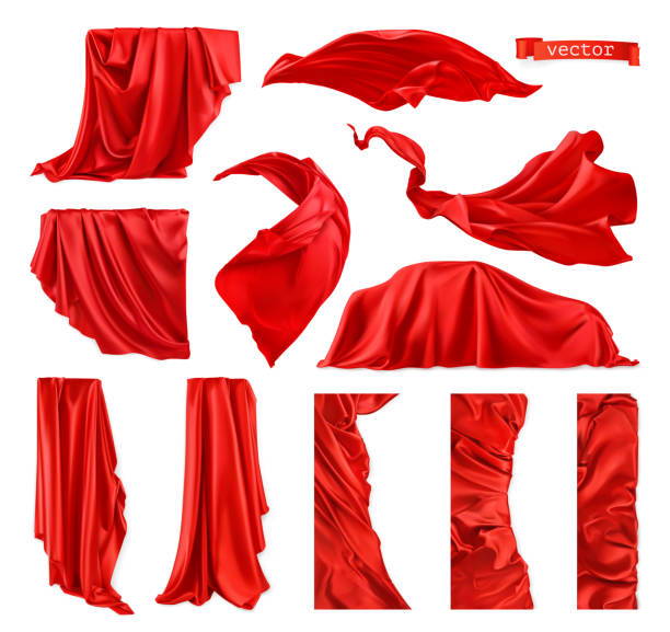 Red curtain vectorized image. Drapery fabric 3d realistic vector set Red curtain vectorized image. Drapery fabric 3d realistic vector set red cloth stock illustrations