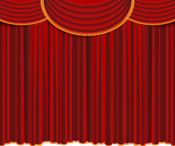 illustrazioni stock, clip art, cartoni animati e icone di tendenza di red curtains, closed - sipario