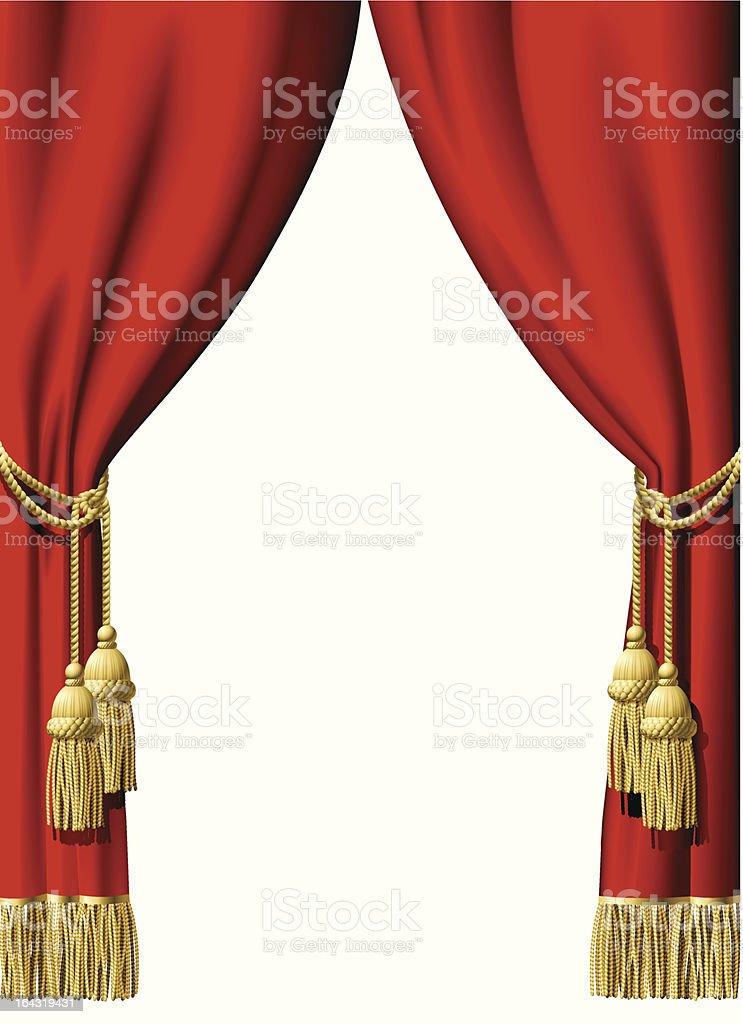Red curtains illustration on white background vector art illustration