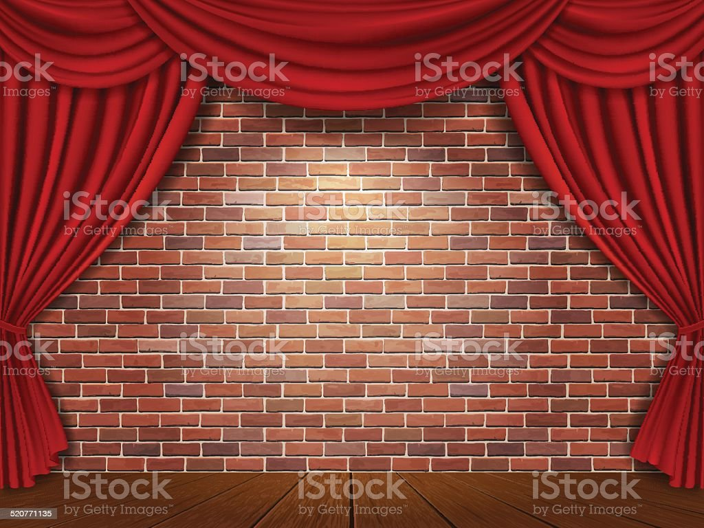 Red curtains on brick wall background vector art illustration