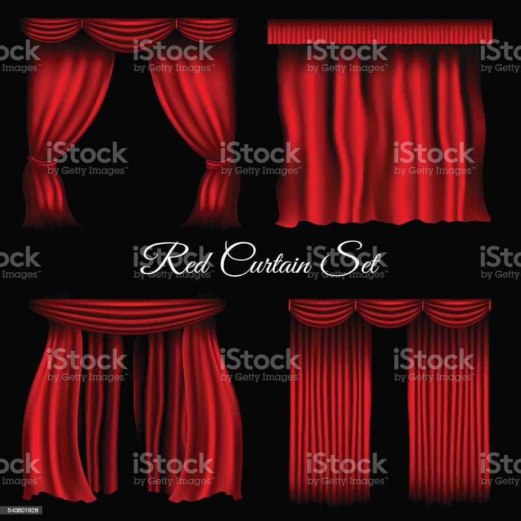 Red curtains on transparent background vector art illustration