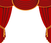 Red curtains background template. Realistic vector illustration isolated on white