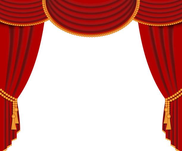 illustrazioni stock, clip art, cartoni animati e icone di tendenza di red curtains, open scene background, isolated, vector - sipario