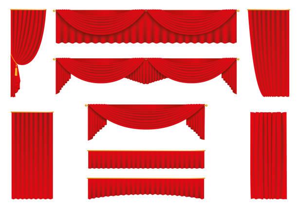 illustrations, cliparts, dessins animés et icônes de rideaux rouges, ensemble réaliste - stock vector. - theatre