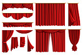 Red curtains. Set realistic luxury curtain cornice decor domestic fabric interior drapery textile lambrequin, vector illustration curtaine set