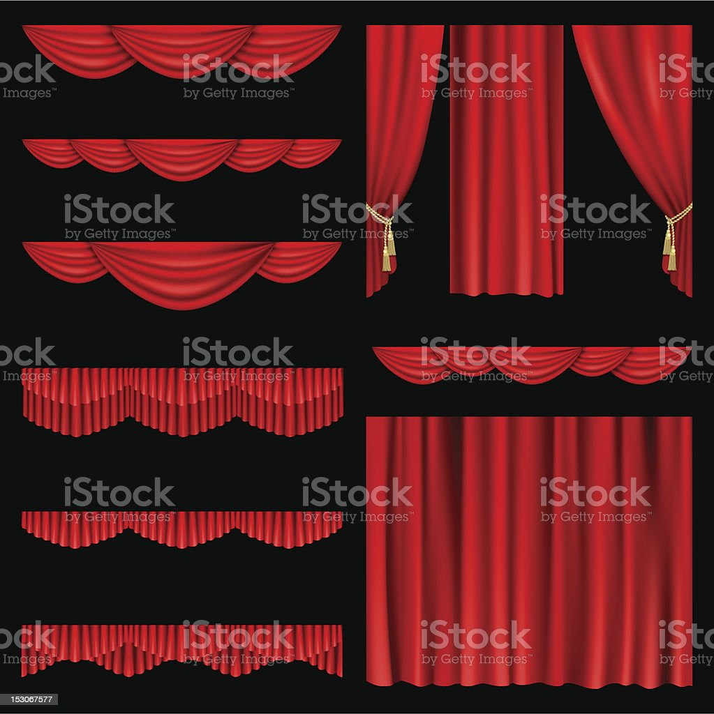 Red curtains vector art illustration