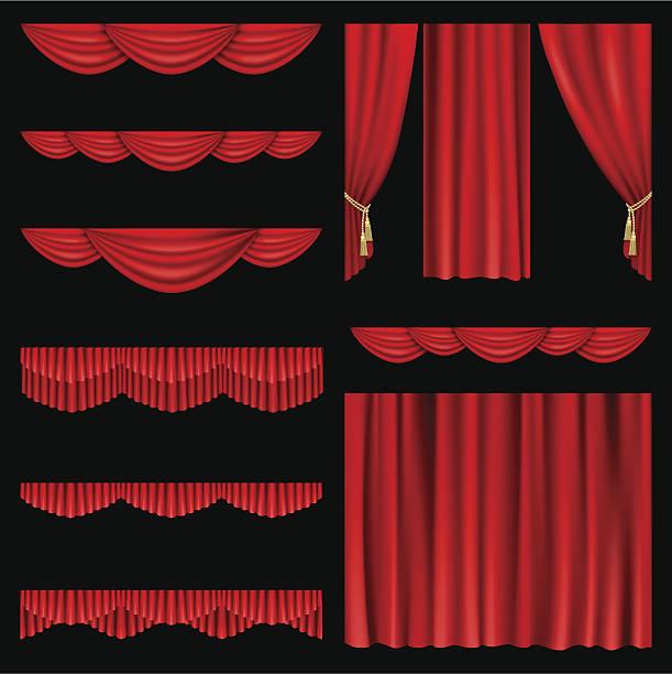 rote vorhänge - plüschmuster stock-grafiken, -clipart, -cartoons und -symbole