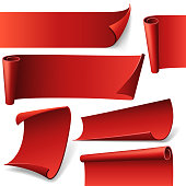 Red curved paper banners in vector