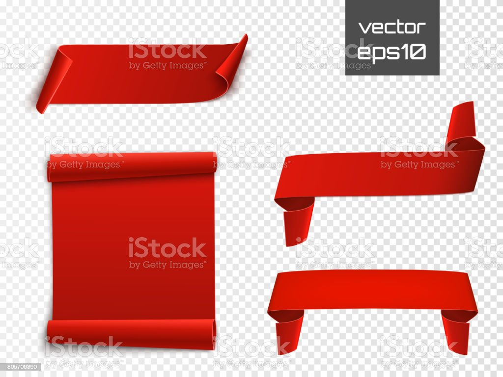 Red curved paper blank banners isolated on transparent background. Vector
