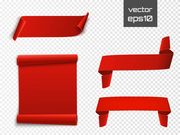 red curved paper blank banners isolated on transparent background. vector - ribbon sewing item stock illustrations