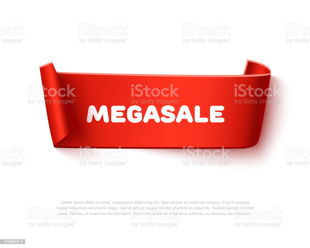 Red curved paper ribbon banner with rolls and text MegaSALE vector art illustration