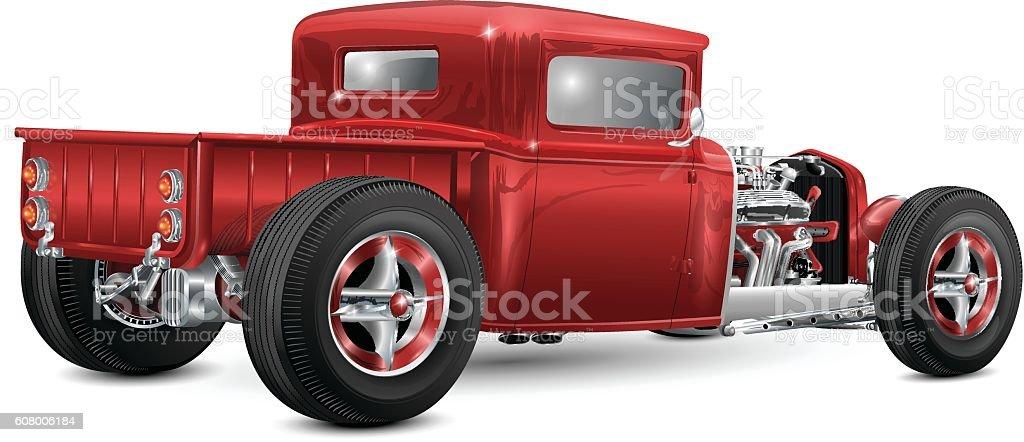 red custom hot rod truck – Vektorgrafik