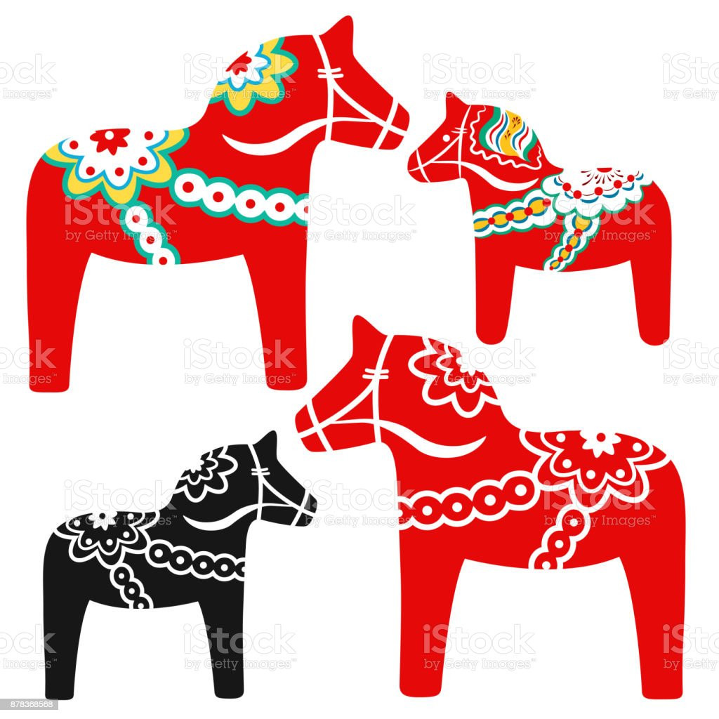 Red Dala Horse National Symbol Of Sweden From Dalarna Stock Vector