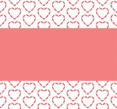 red dash heart shape pattern with pink space background