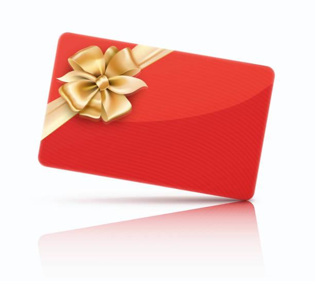 illustrazioni stock, clip art, cartoni animati e icone di tendenza di red decorated gift card - coupon