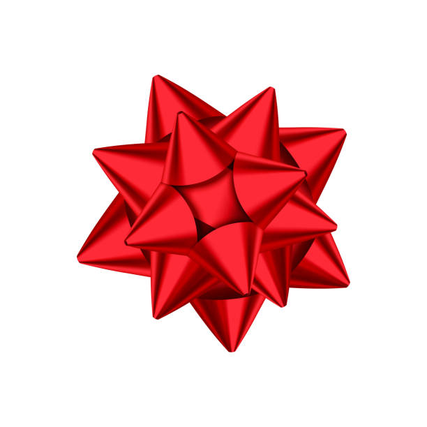 red decorative gift bow isolated on white background. - gift stock illustrations