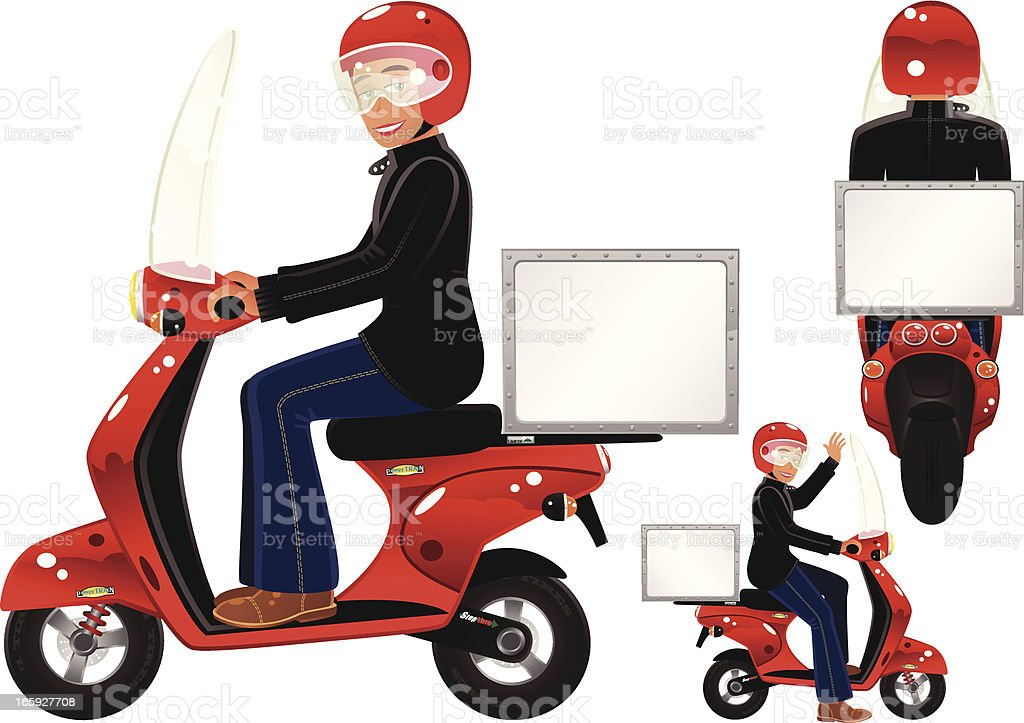 Red delivery scooter and driver vector art illustration