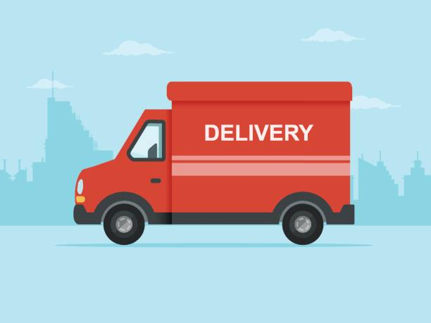 red delivery truck - delivery van stock illustrations, clip art, cartoons, & icons