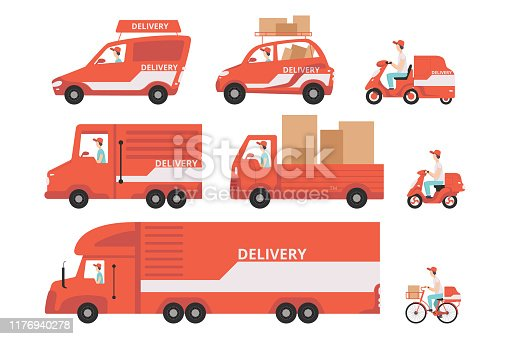 istock Red delivery vehicles set, express delivery concept vector Illustrations on a white background 1176940278
