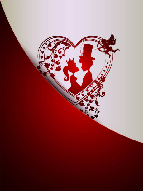 red design with silhouettes of a princess and a young man in a hat celindre - leap year stock illustrations, clip art, cartoons, & icons