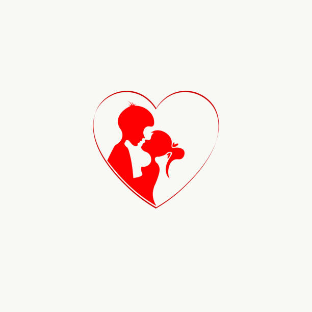 red design with silhouettes of boy and girl with heart - leap year stock illustrations, clip art, cartoons, & icons