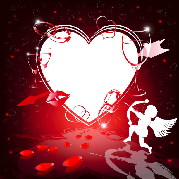 red design with silhouettes of heart and cupid - leap year stock illustrations, clip art, cartoons, & icons