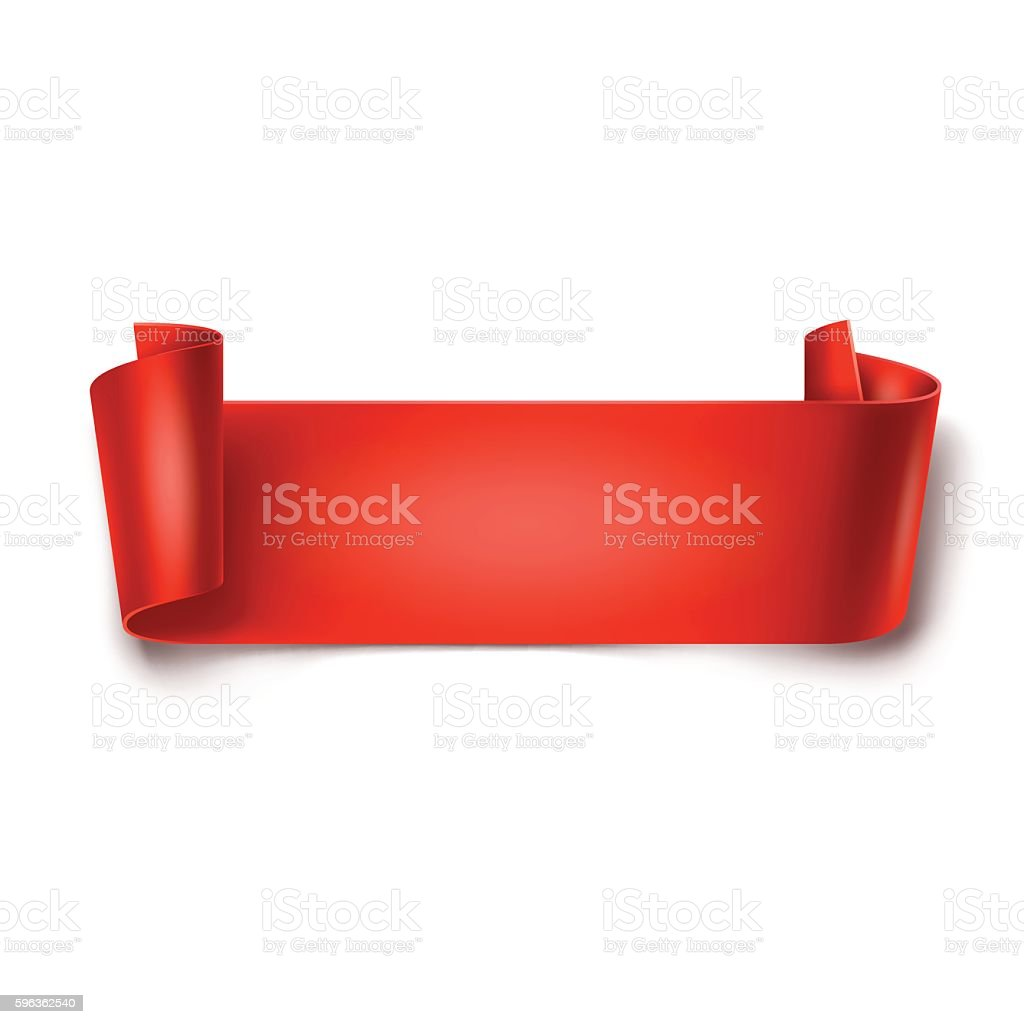 Red detailed curved ribbon isolated on white background. royalty-free red detailed curved ribbon isolated on white background stock vector art & more images of advertisement