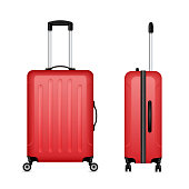 Red detailed rolling suitcase, roller aboard, cabin luggage. Trolley case, flight bag on wheels for business trip, summer vacation, travel. Front, side view. Vector realistic set isolated on white.