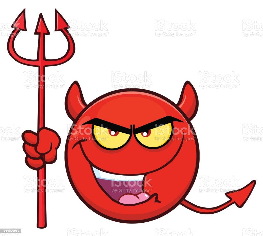 ilustração de diabo vermelho dos desenhos animados emoji cara