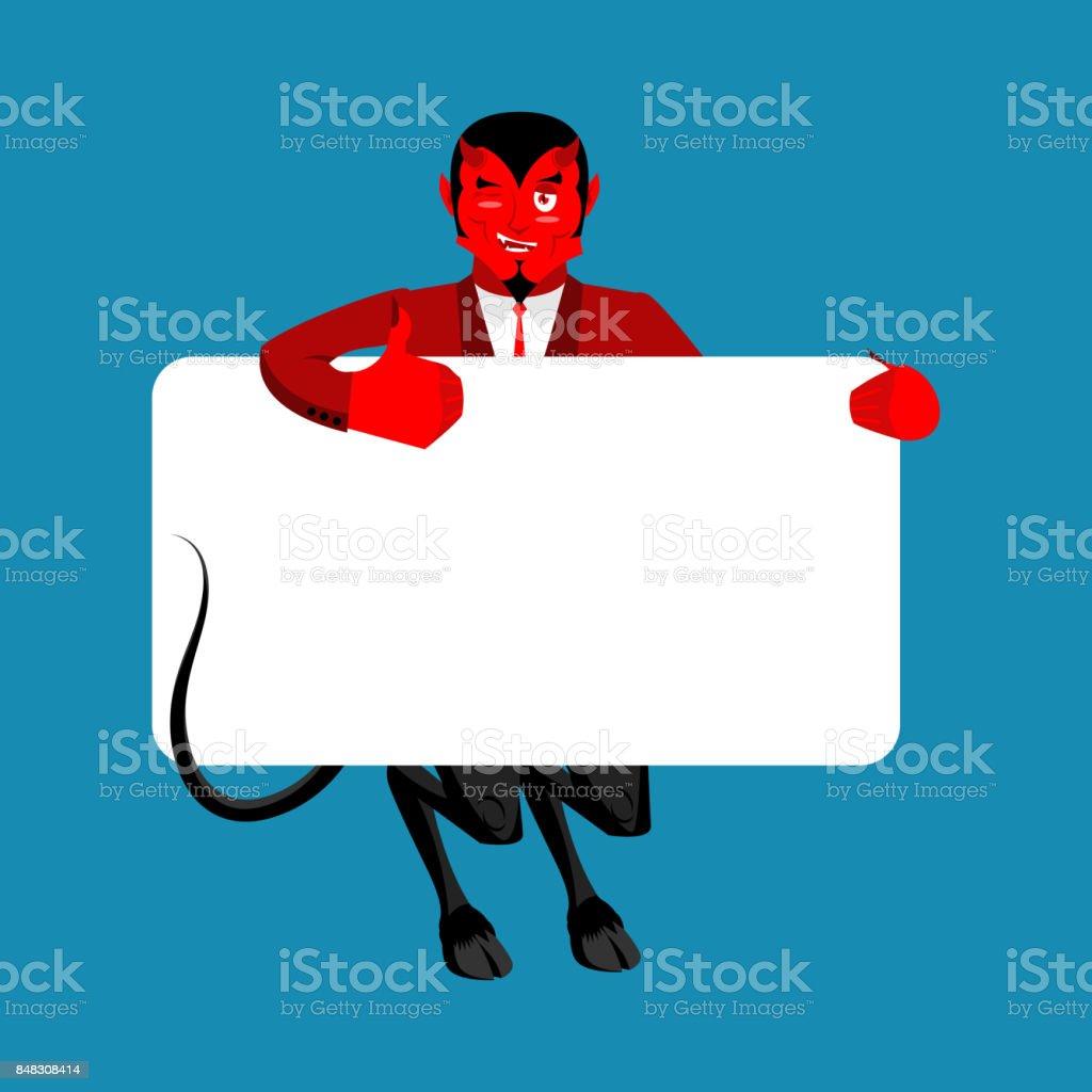 Rote Teufel Halten Banner Leer Satan Und Weiß Leer Dämon Freudige ...