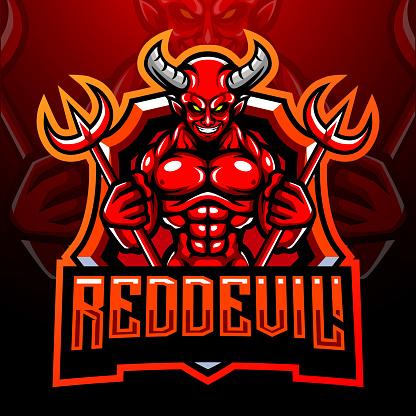 Red devil mascot. esport logo design