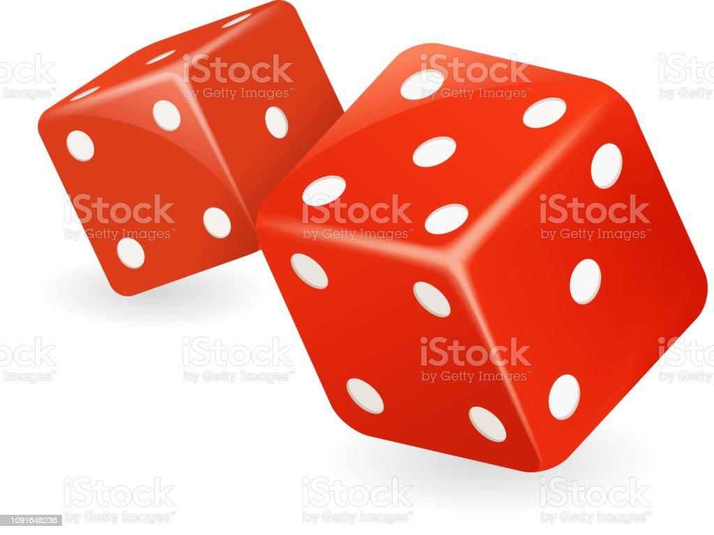 Kırmızı zar 3d gerçekçi casino kumar oyunu hazırladılar izole simge vektör çizim vektör sanat illüstrasyonu
