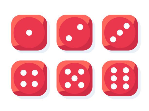 illustrazioni stock, clip art, cartoni animati e icone di tendenza di red dice vector - gioco dei dadi